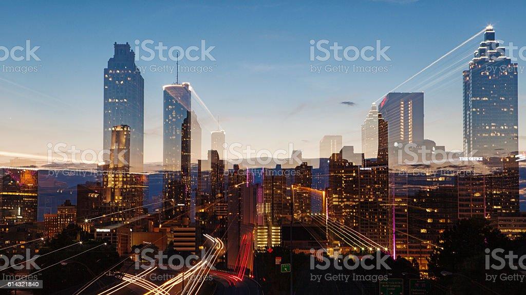 Atlanta Skyline at blue hour stock photo