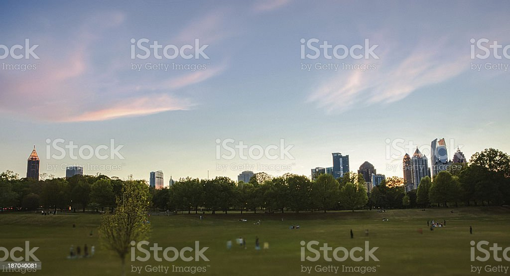 Atlanta skyline from Piedmont Park stock photo