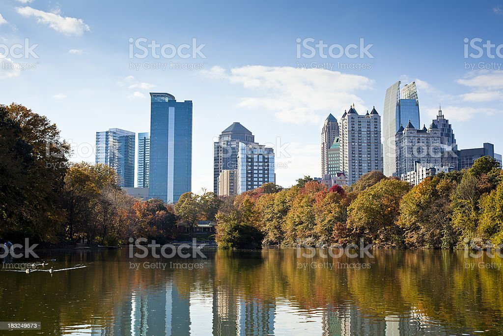 Atlanta skyline in autumn royalty-free stock photo