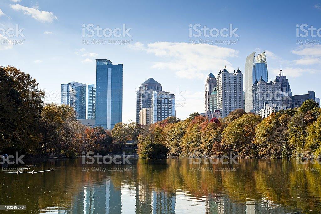 Atlanta skyline in autumn stock photo