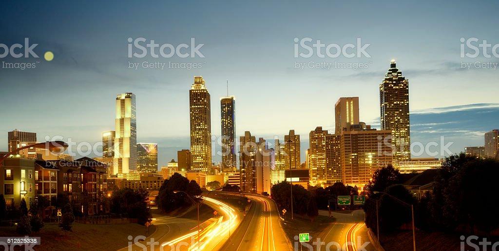 Atlanta Skyline in the Moonlight stock photo