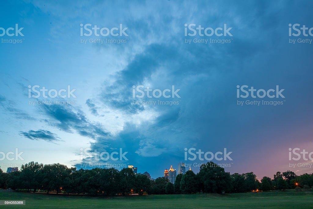 Atlanta skyline over Piedmont Park stock photo