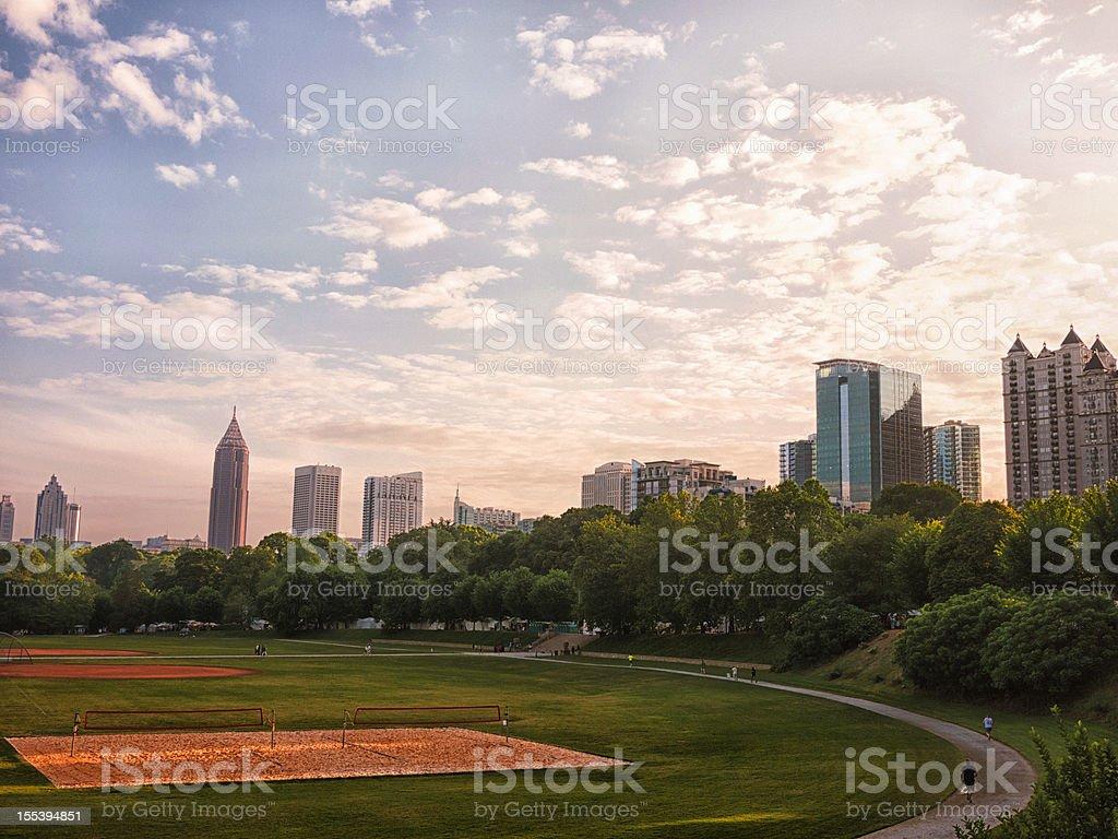Atlanta skyline over the park stock photo