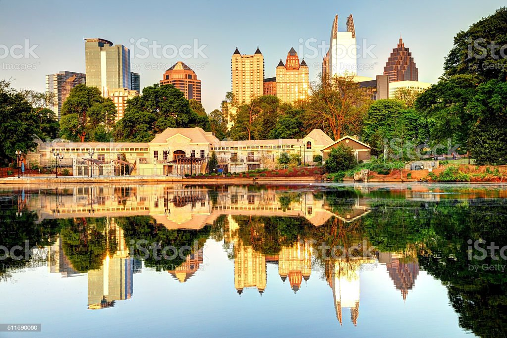 Atlanta Skyline Reflection stock photo