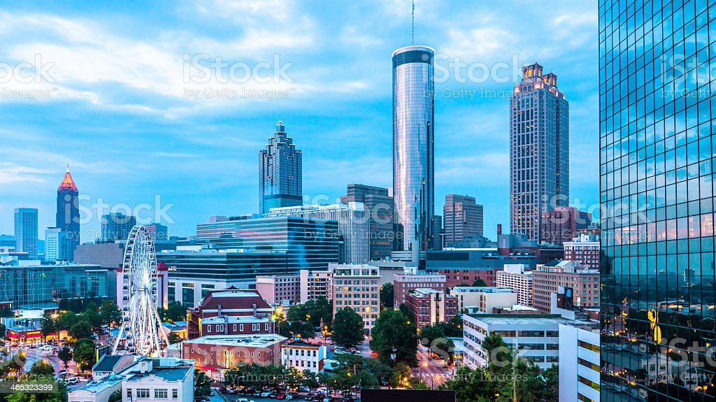 Atlanta Skyline with Ferris Wheel stock photo