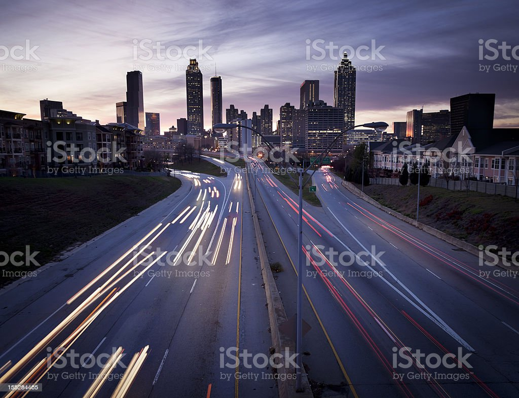 Atlanta Skyline with Traffic stock photo