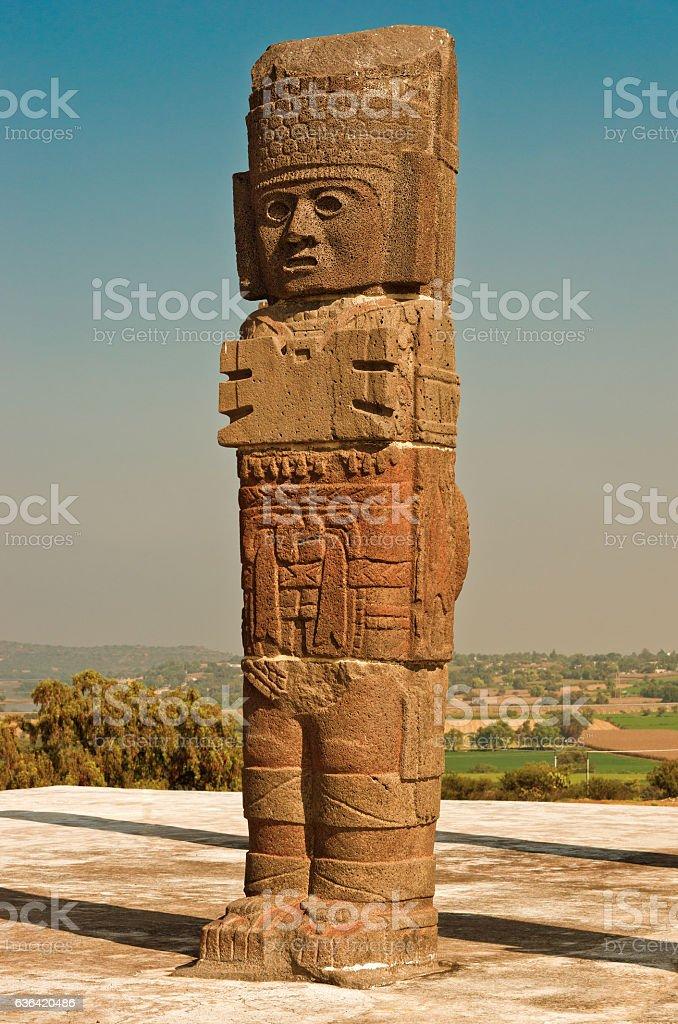 Atlantean figure in Tula. Mexico stock photo