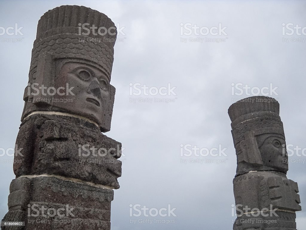 Atlantean figures at the top of pyramid stock photo