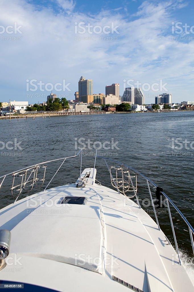 Atlantic City Skyline from the bay stock photo