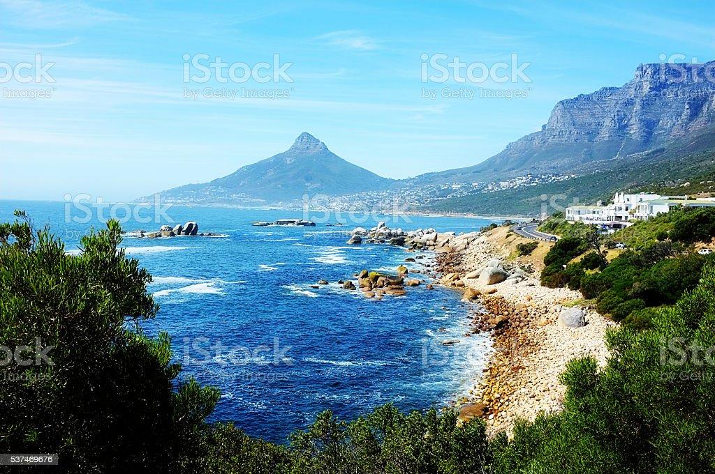 Atlantic coastline, Camps Bay, Llandudno, Cape Town, scenic beauty, vista stock photo