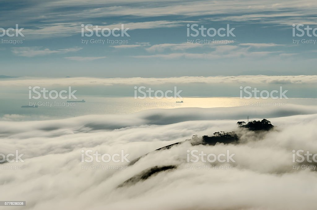 Atlantic Fog in Cape Town stock photo