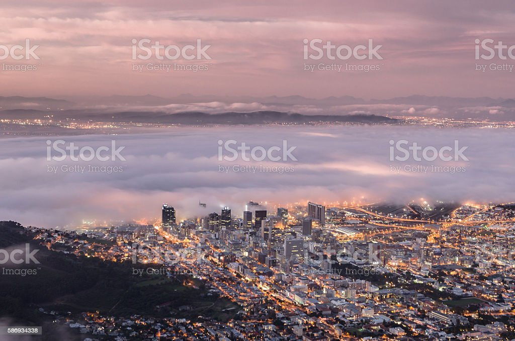Atlantic Fog over Cape Town stock photo