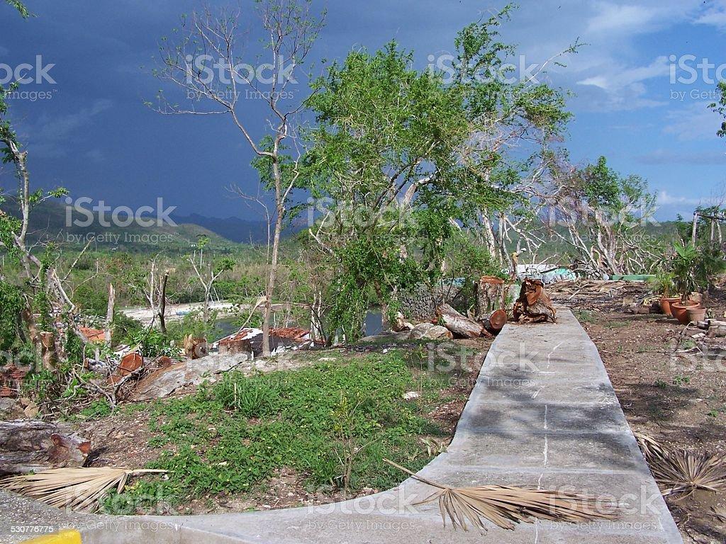 Atlantic Hurricane Katrina  (Category 5) hits a resort in Cuba stock photo