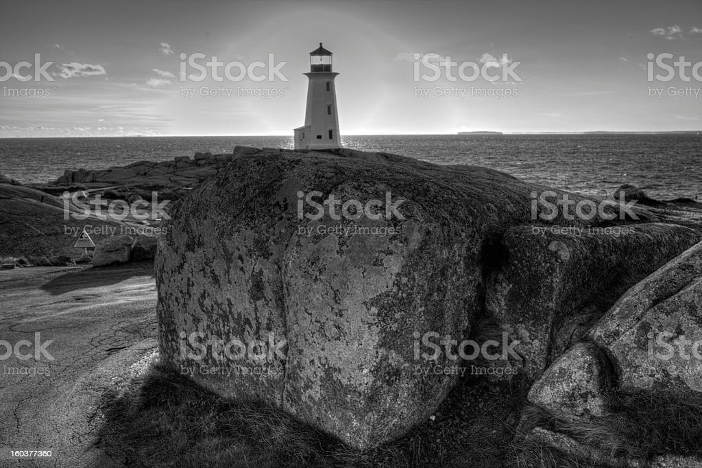 Atlantic lighthouse in black and white royalty-free stock photo