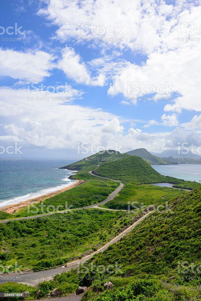 Atlantic Ocean and Caribbean Sea on Saint Kitts stock photo