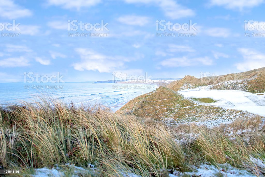 atlantic ocean beside a links golf course stock photo