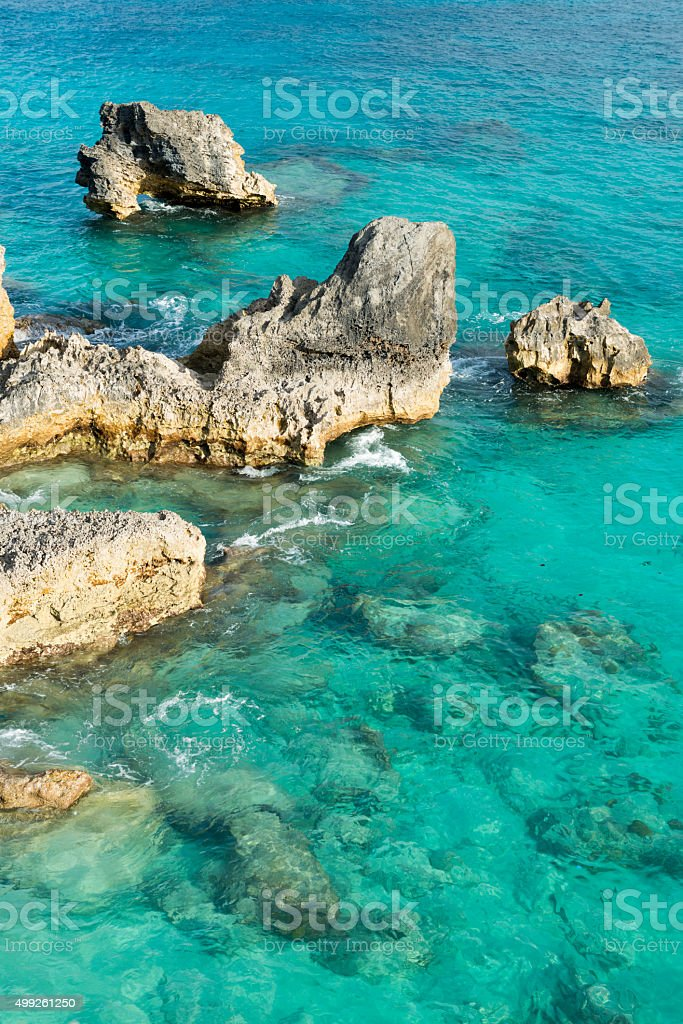 Atlantic Ocean coast in Bermuda stock photo