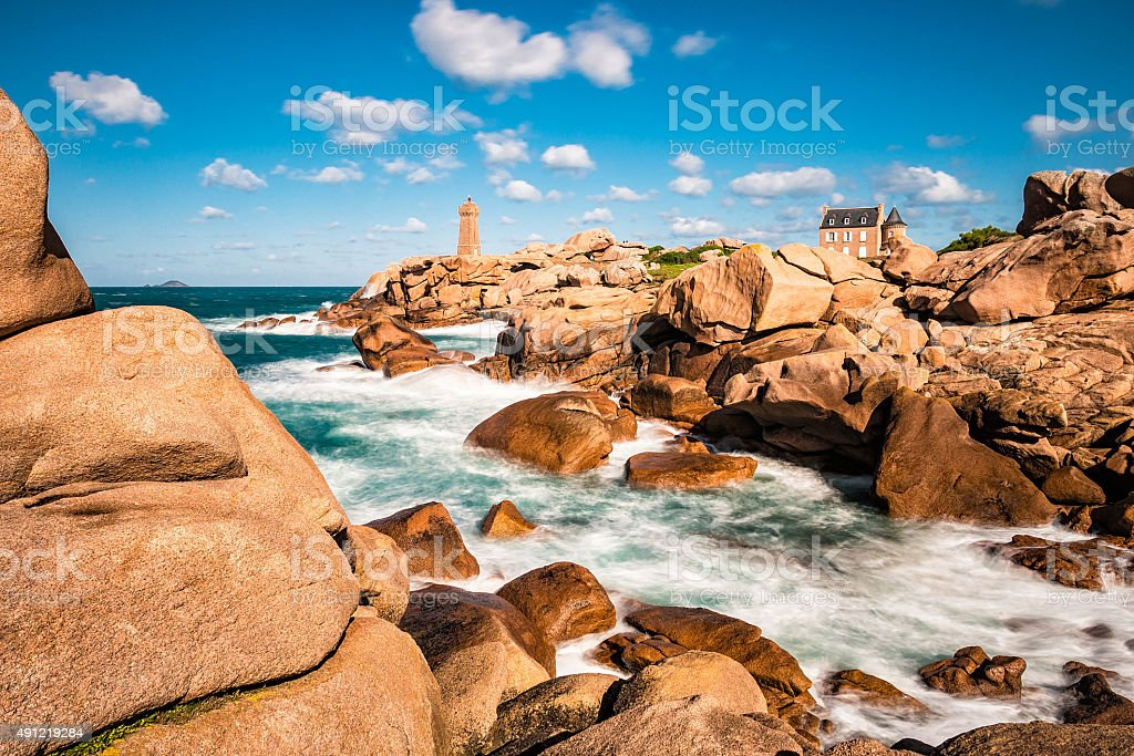 Atlantic ocean coast in Brittany stock photo