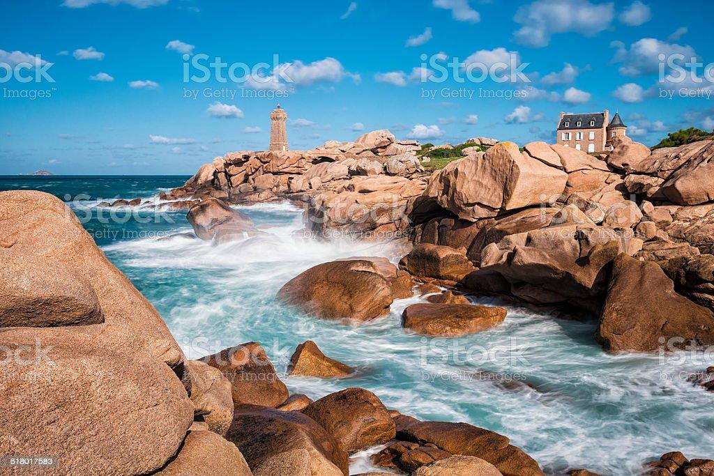 Atlantic Ocean coast in Brittany stock photo