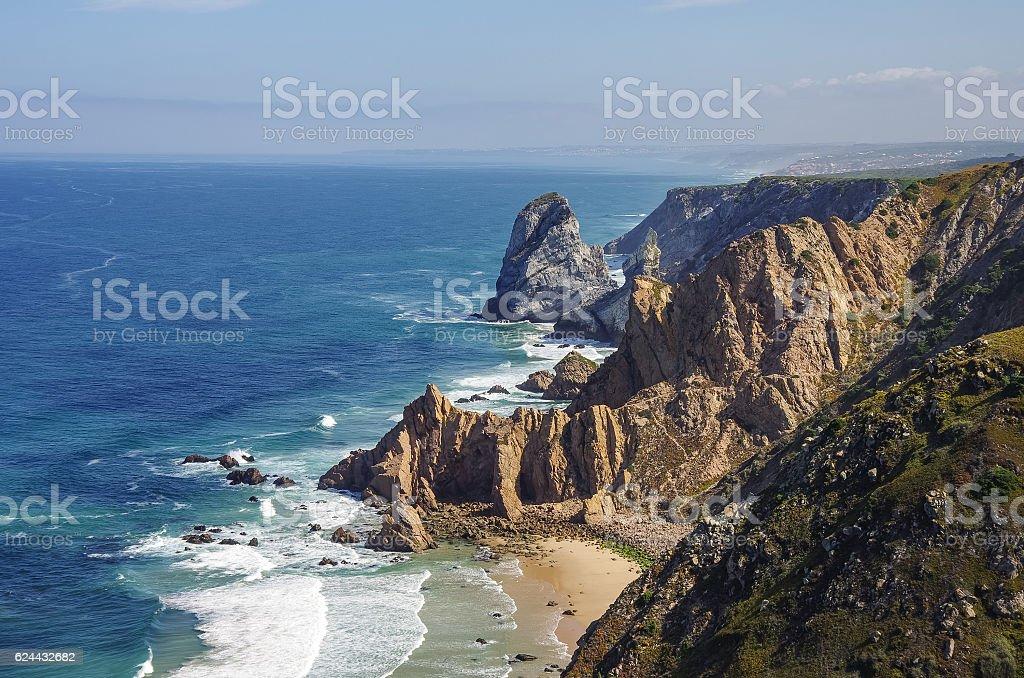 Atlantic ocean coastline view from Cabo da Roca (Cape Roca) stock photo