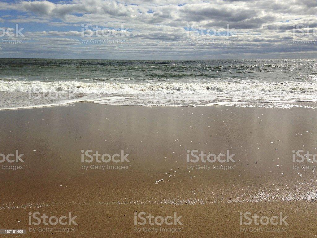Atlantic Ocean Horizon, Beach and Clouds in Sky royalty-free stock photo