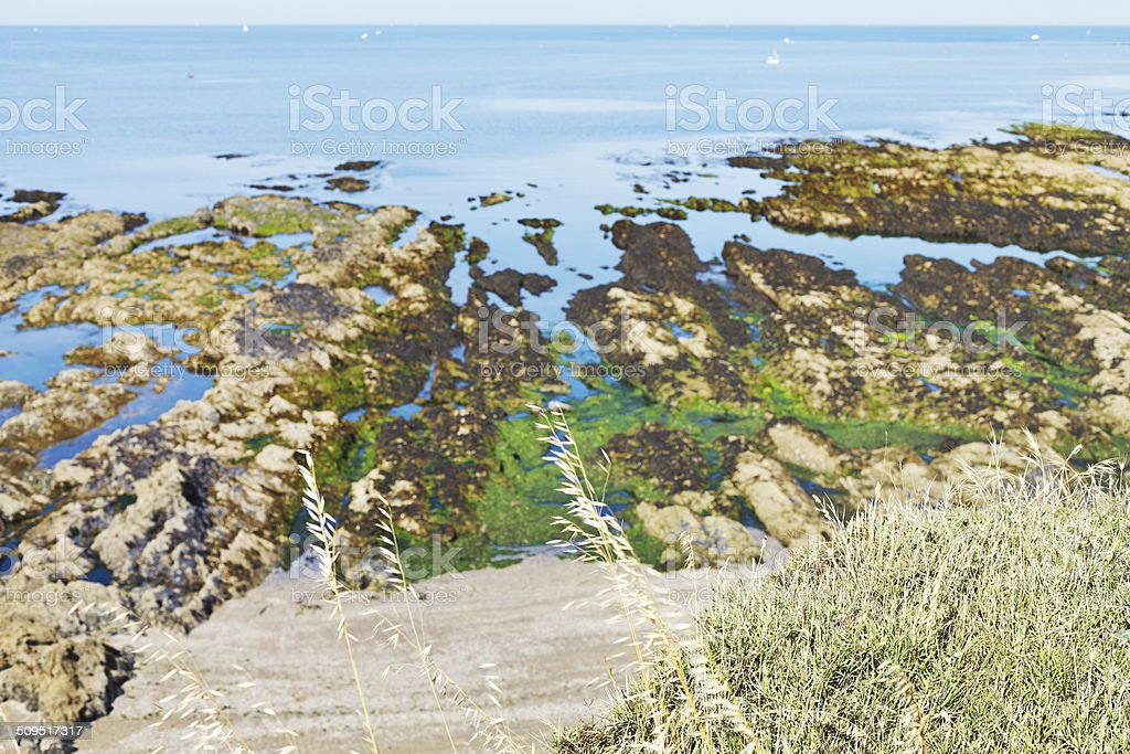 Atlantic ocean shore on Guerande Peninsula stock photo