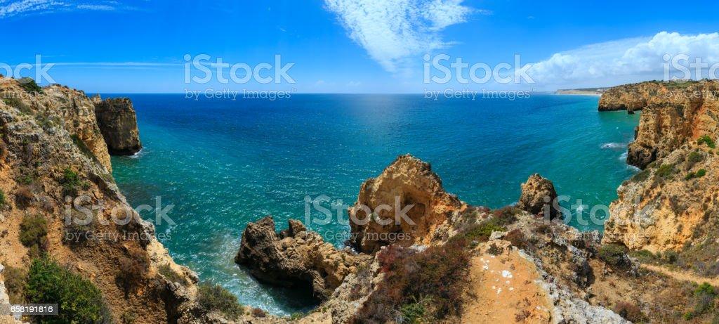 Atlantic rocky coastline (Algarve, Portugal). stock photo