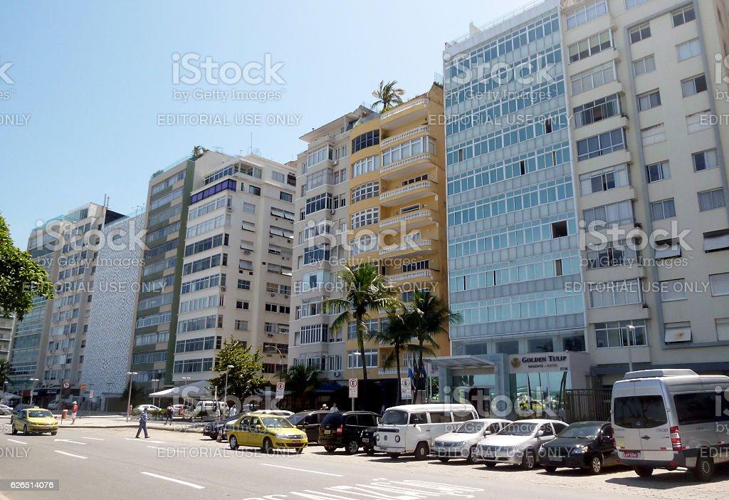 Atlantica Avenue in Copacabana Beach stock photo
