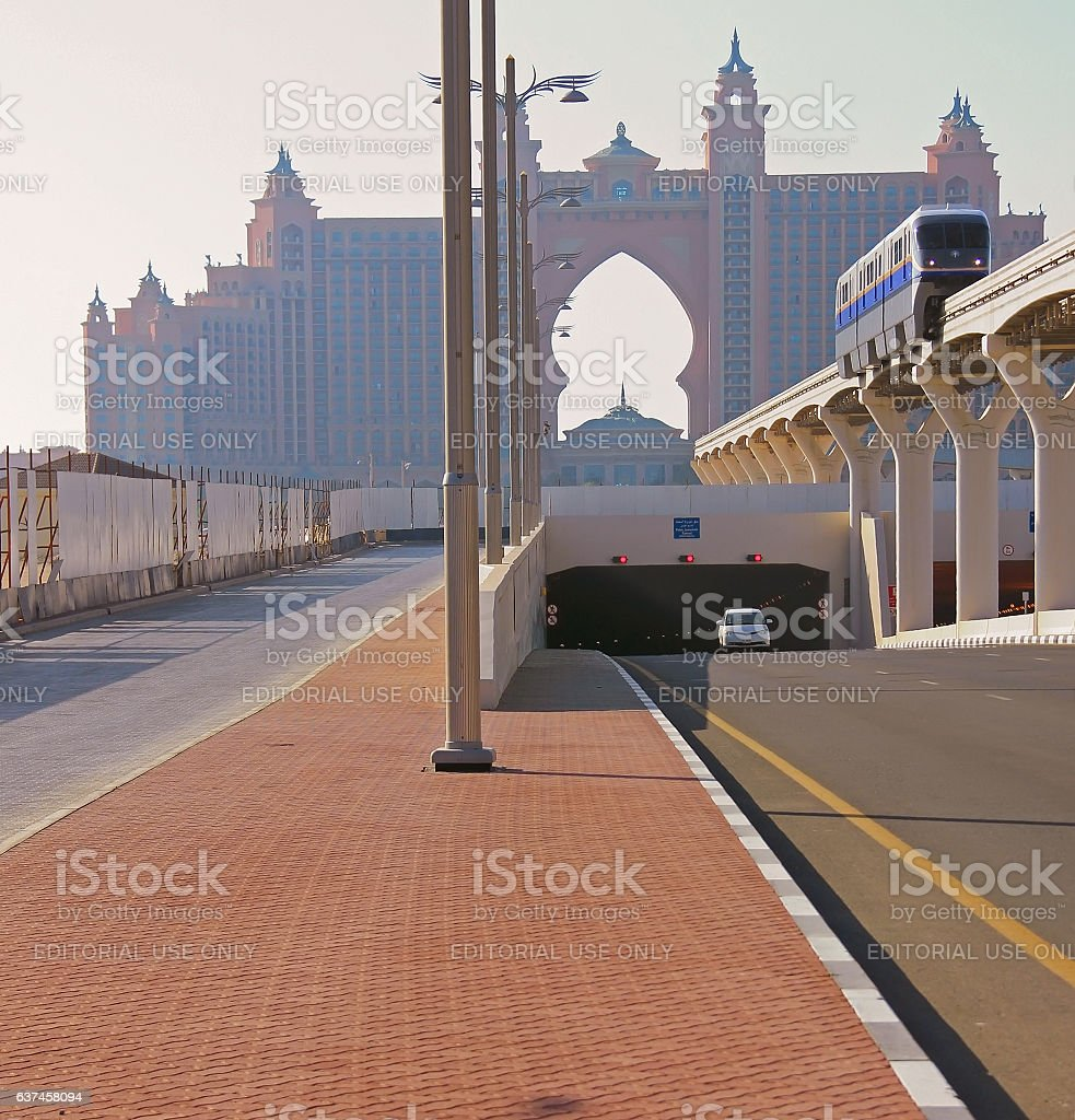 Atlantis Hotel and monorail train on a man-made island stock photo
