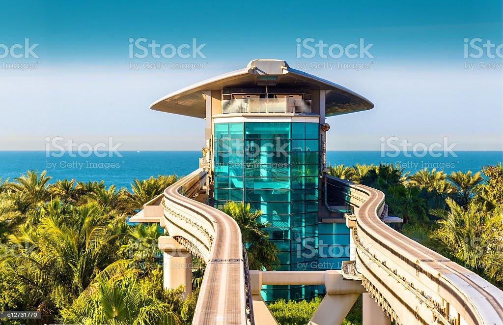 Atlantis Monorail station in Dubai - UAE stock photo