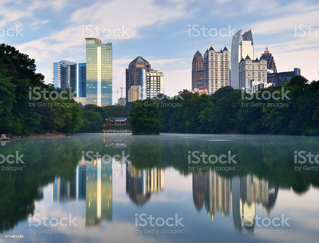 Atlantis Piedmont park reflecting in the water stock photo