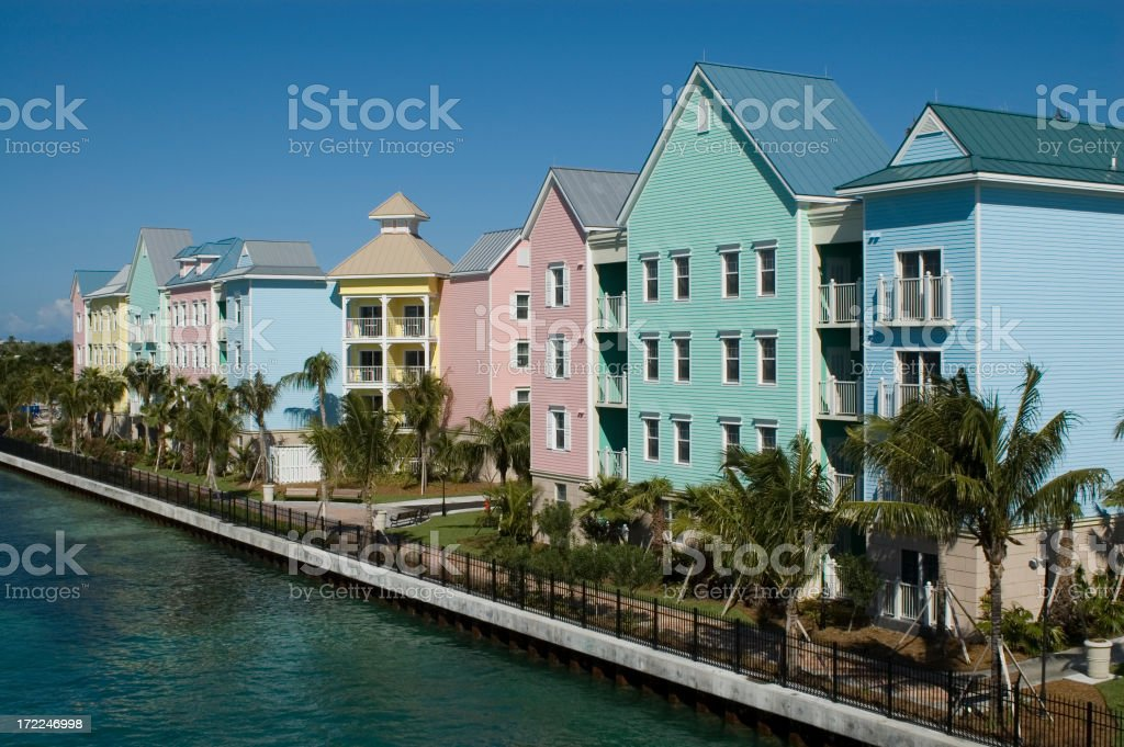 Atlantis Resort. Hotel and Village, Colorful buildings, Nassau, Bahamas royalty-free stock photo