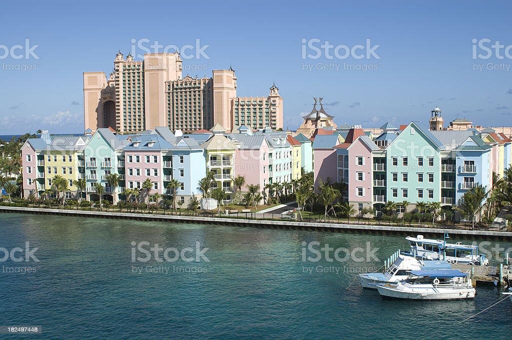 Atlantis Resort Hotel, Paradise Island, Nassau Harbor and Boats stock photo