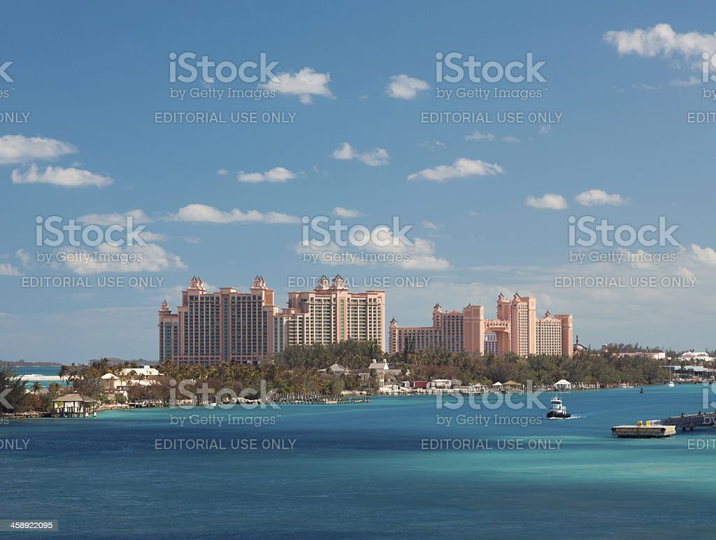 Atlantis Resort in Nassau, Bahamas. Aerial view. stock photo