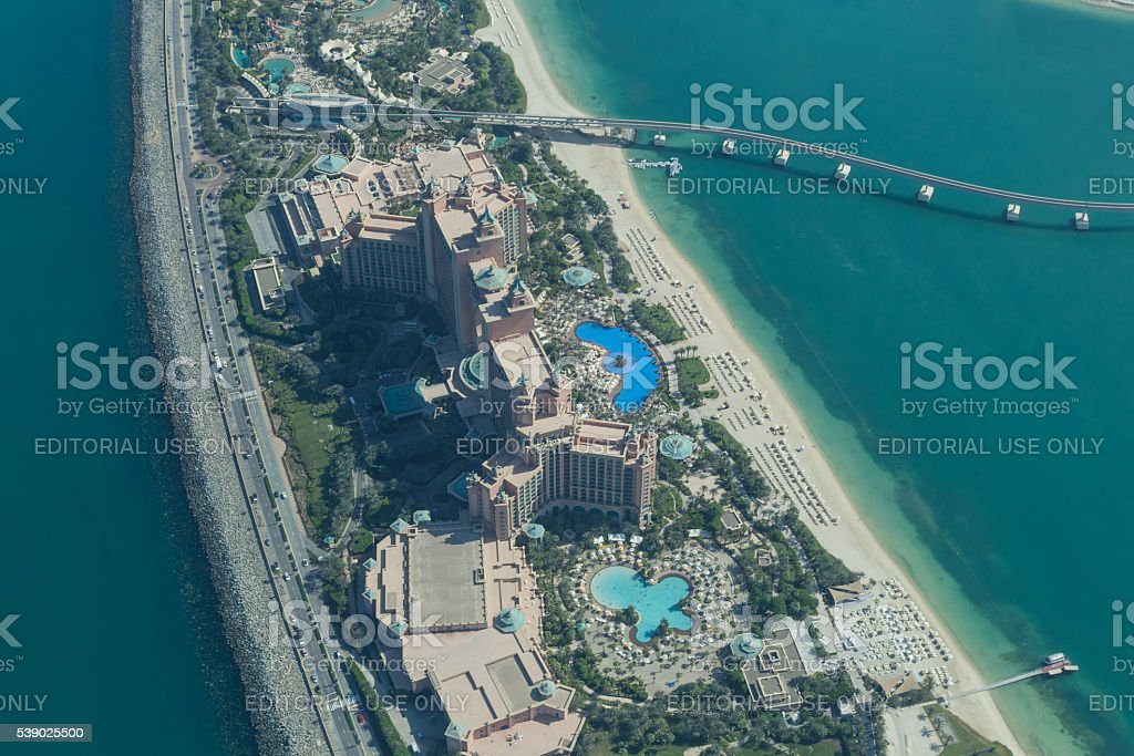 Atlantis The Palm Hotel aerial view stock photo