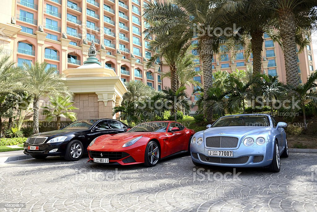 Atlantis the Palm hotel and limousines stock photo