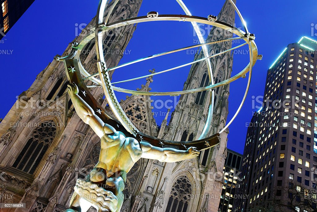 Atlas and St Paticks Cathedral stock photo