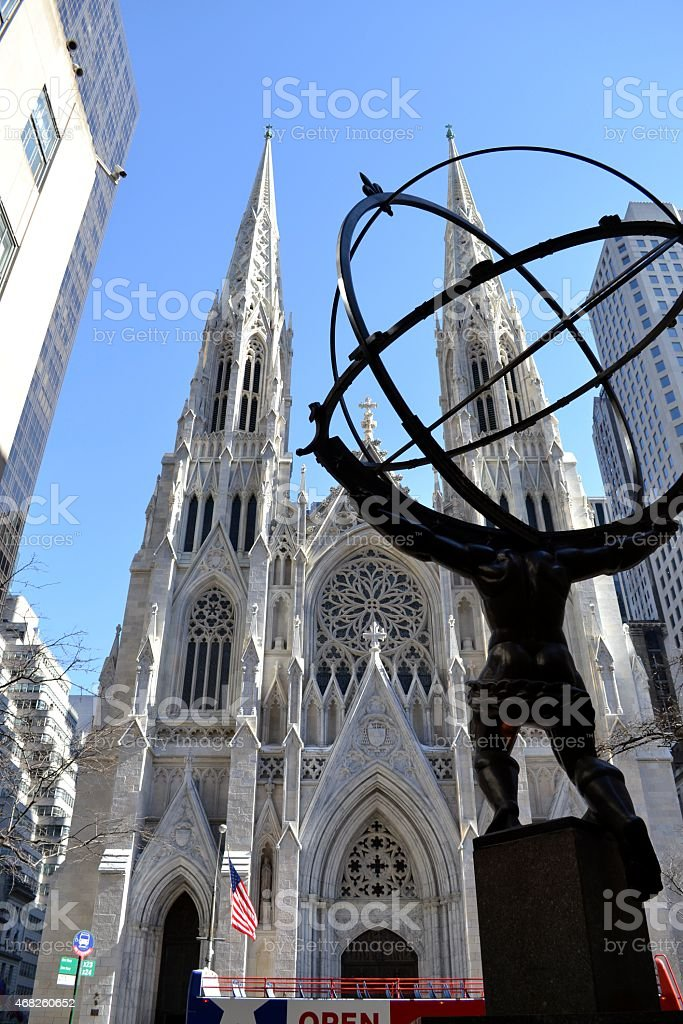 Atlas and St. Patrick from the left stock photo