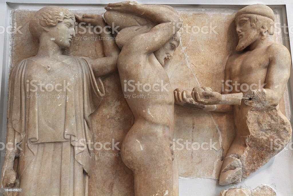 Atlas and the Apples of Hesperides, 5th Century BC, Greece stock photo