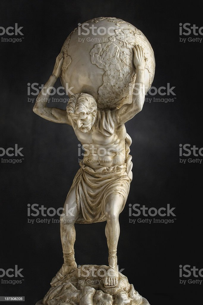 Atlas - resin statue stock photo