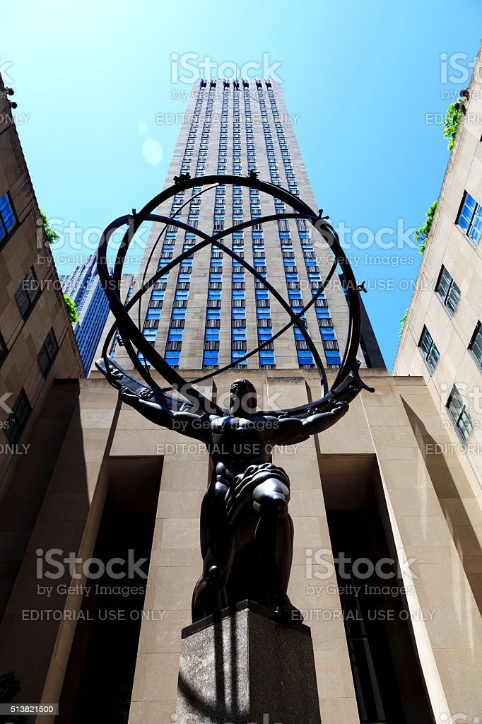 Atlas Statue at Rockefeller Center stock photo