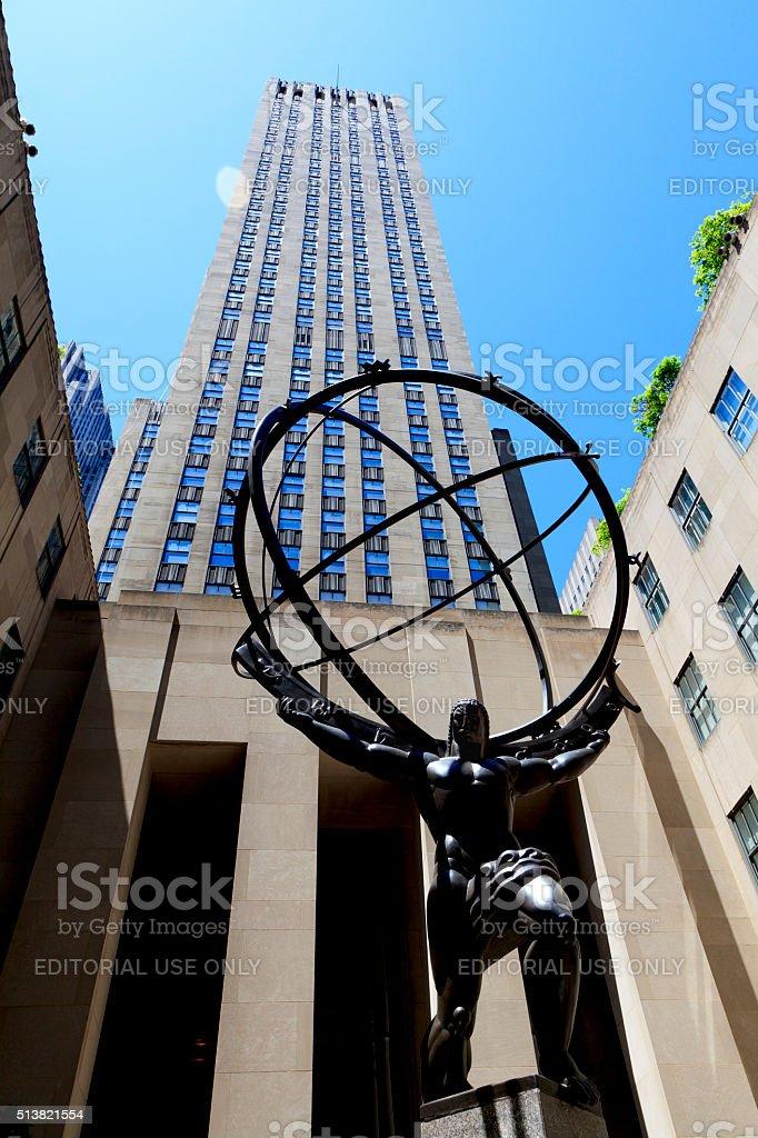 Atlas Statue at Rockefeller Center stock photo