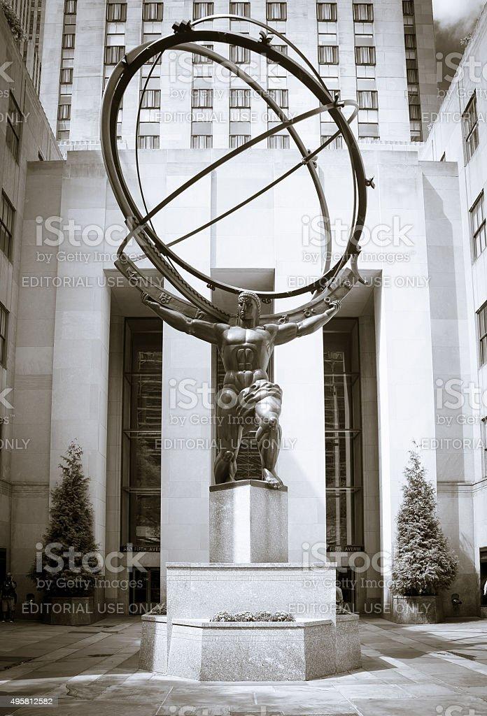 Atlas statue in front of Rockefeller Center New York City stock photo