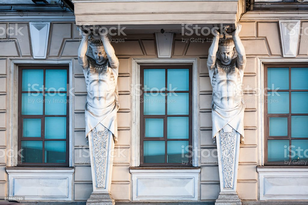 Atlas torso supports balcony, classical architecture, St Petersburg, Russia stock photo