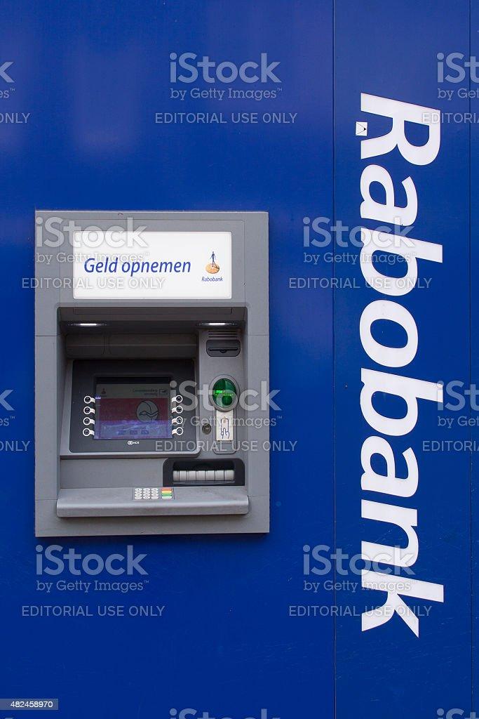 atm machine rabobank stock photo