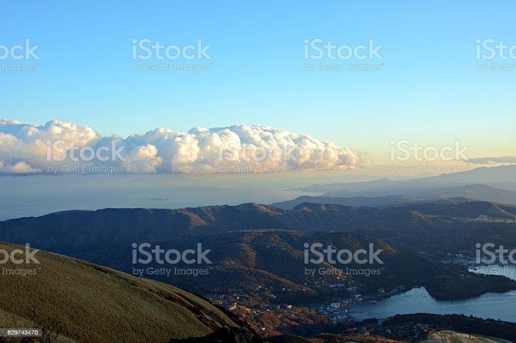 Atmosphere around Lake Ashi, Japan.Landscape. stock photo