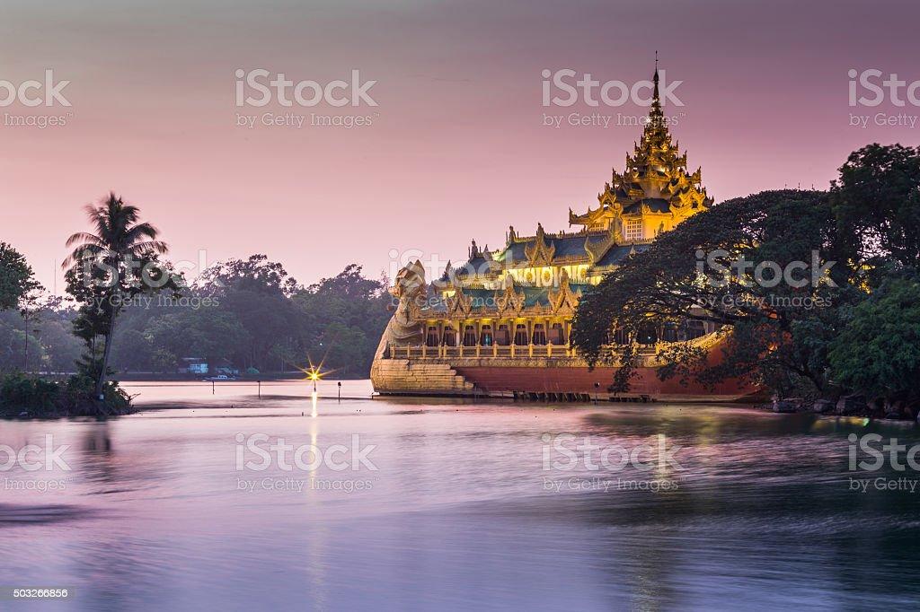 atmosphere of dusk at Shwedagon pagoda in Yangon, Myanmar stock photo
