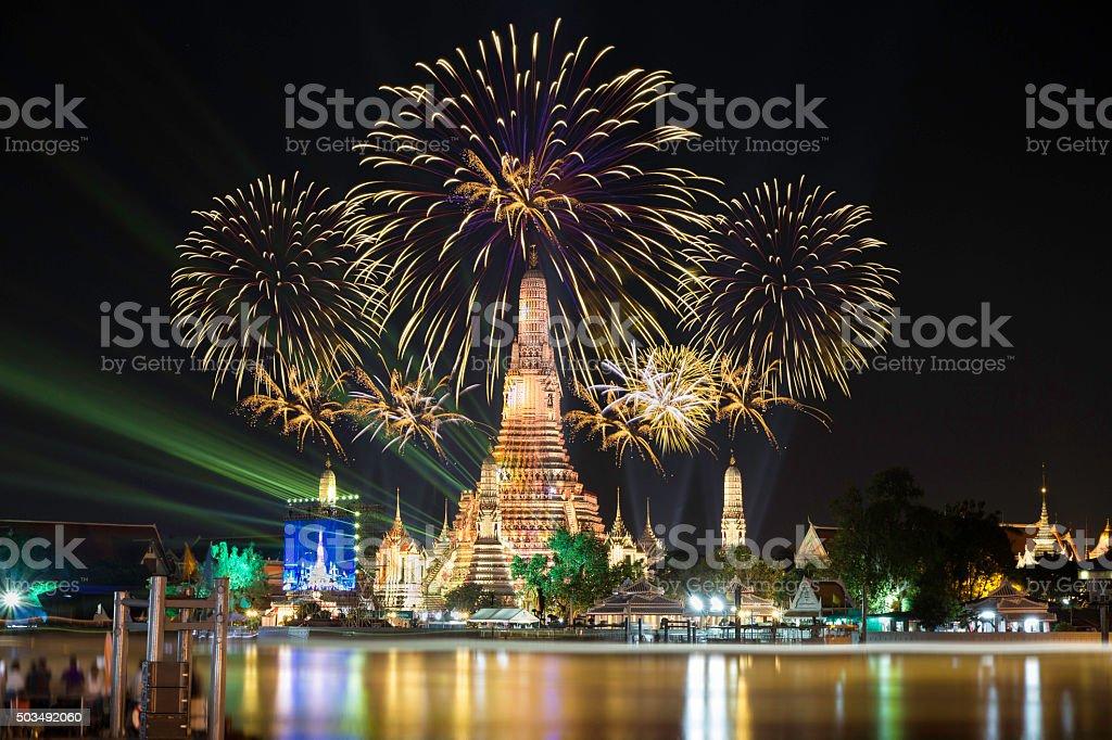 Atmosphere Wat Arun in night, It is spectacular, stock photo