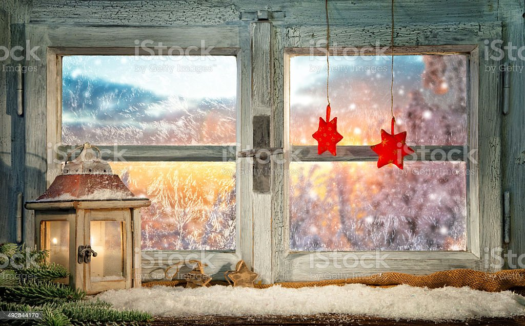 Atmospheric Christmas window sill decoration stock photo