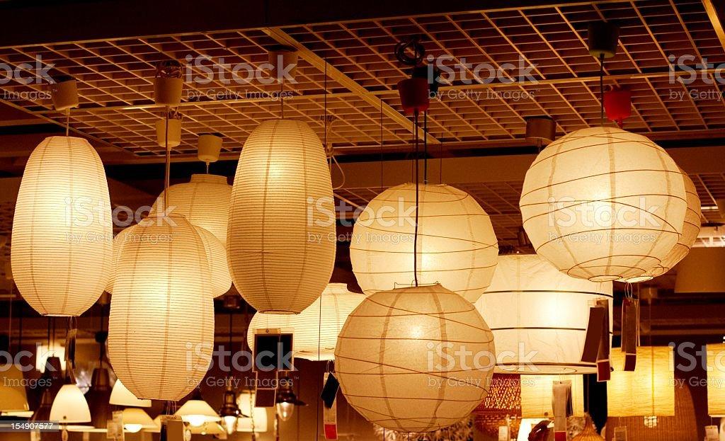 atmospheric luminous paper lamps stock photo